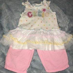 Baby Girl Tutu Top + Pink Pants 12M